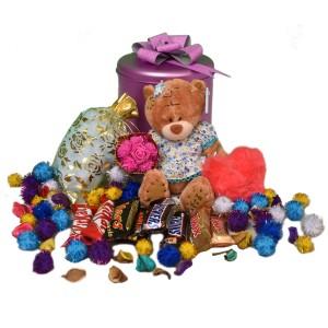 پک هدیه شکلات و عروسک کد H110