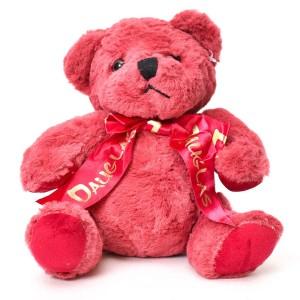 عروسک خرس پاپیون دار صورتی تیره