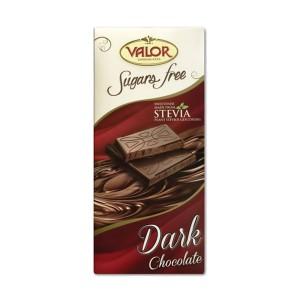 تابلت شکلات تلخ 52% بدون گلوتن و بدون شکر Valor حاوی استویا