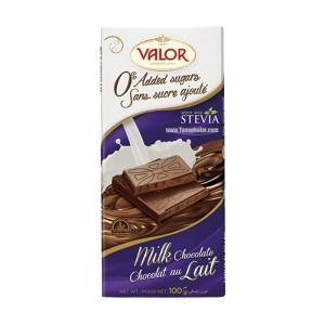 تابلت شکلات شیری بدون گلوتن و بدون شکر Valor حاوی استویا