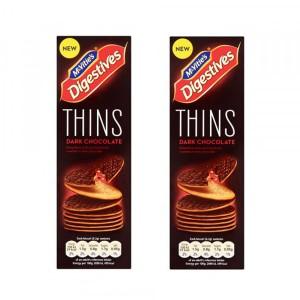 2 عدد بیسکوئیت دایجستیو Thins با روکش شکلات تلخ فقط