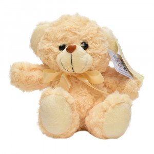 عروسک تاپ تویز مدل خرس پاپیون دار کرم