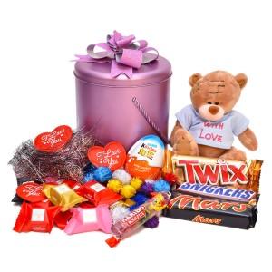 پک هدیه شکلات و عروسک کد H003