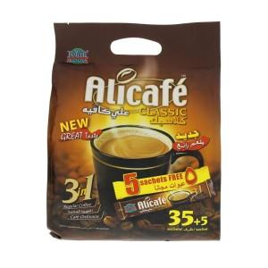 قهوه فوری جینسینگ دار کلاسیک 3 در 1 علی کافه (بسته 40 عددی)