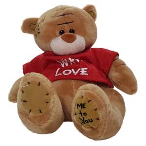 عروسک خرس تدی قهوه ای لباس قرمز