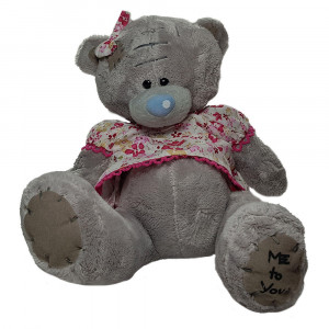 عروسک خرس تدی دختر قهوه ای لباس صورتی