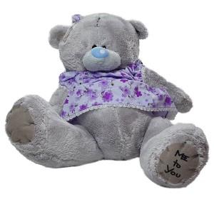 عروسک خرس تدی دختر قهوه ای لباس بنفش