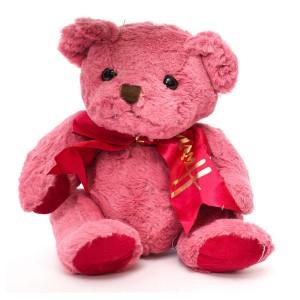 عروسک خرس پاپیون دار سرخابی