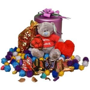 پک هدیه شکلات و عروسک کد H115