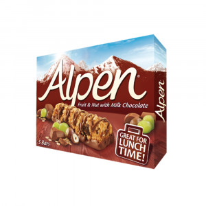 غلات بار آلپن طعم شکلات شیری با آجیل و انگور