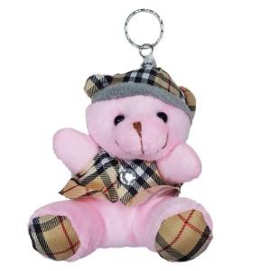 عروسک خرس کلاه دار صورتی