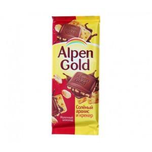 تابلت شکلات آلپن گلد با مغز بادام زمینی شور و کراکر