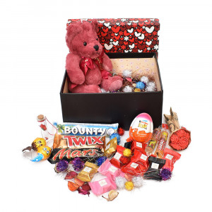 پک هدیه شکلات و عروسک سایز 5 کد H045