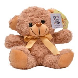 عروسک تاپ تویز مدل خرس پاپیون دار قهوه ای روشن