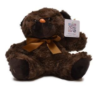 عروسک تاپ تویز مدل خرس پاپیون دار قهوه ای تیره
