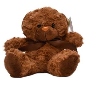 عروسک تاپ تویز مدل خرس پاپیون دار قهوه ای