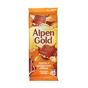 تابلت شکلات آلپن گلد با مغز بادام زمینی و کورن فلکس