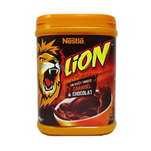 nestle lion chocolate and caramel powder